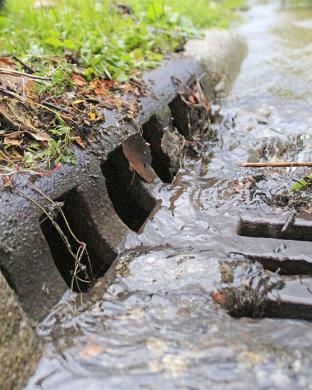 One of the easiest flooding problems to solve is a blocked storm sewer grate. Public works crews in Homewood and Flossmoor regularly clear grates immediatley following storms, but officials urge residents to pitch in if they can or to call public works to report blocked grates so crews can get to them. (Eric Crump/H-F Chronicle)