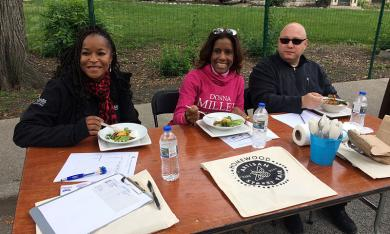 Their tastebuds were working overtime as, from left, Bonita Parker, external affairs officer for ComEd; Donna Miller, Democratic candidate for the Cook County Board in November; and Keith Lewis, owner of Bookie's New and Used Books in Homewood, judge the annual chili cook-off contest Saturday.