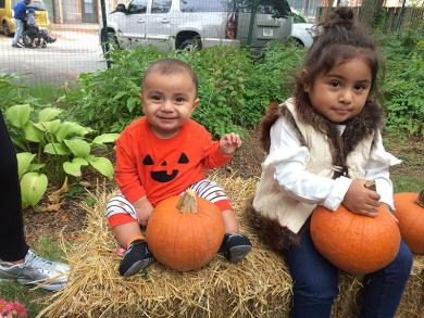 Having fun in the pumpkin patch at Homewood's Fall Fest were seven-month-old Victor Sanchez and Ava Aguilar, 2.