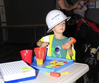 Kepler Swart, 3, of Homewood, gets to work at the Building Basics PopUp Science session at Homewood Science Center.