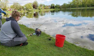 Neil McCormack patiently watches his lines at the McDowell Fishing Derby on Saturday. (EC)