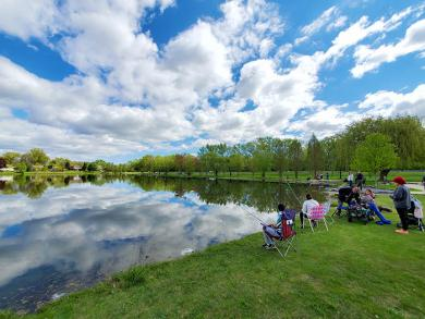 A bright day with warming temperatures helped increase the turnout for the 2021 McDowell Fishing Derby at Dolphin Lake on May 8. (EC)