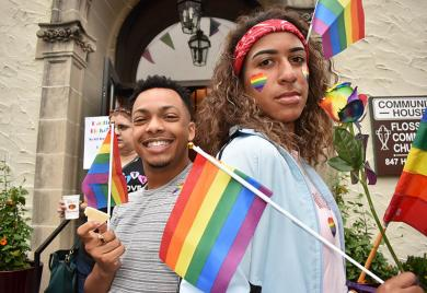 Posing in front of the Flossmoor Community House are Braxton Williams and Tori Richardson of Homewood during Pride Fest in Flossmoor.