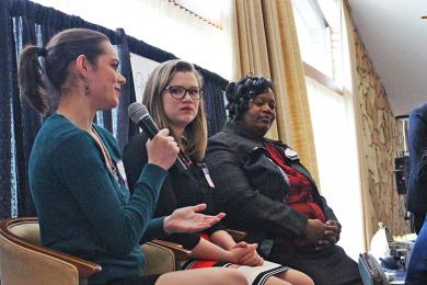 H-F graduate and University of Chicago student Maggie Colton speaks during a panel on internships while Maddie Moxley and Kim Garrison-Clanton listen.
