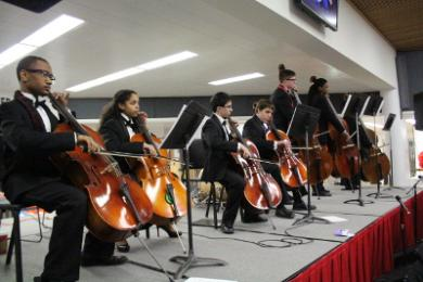 Cellists and bassists play from the stage during the orchestra's performance.