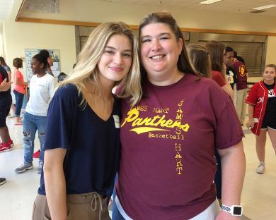 Michaela Reid shared memories with Krista Sparrow, her seventh grade teacher.