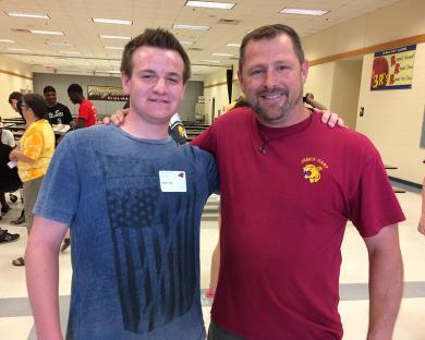 Dylan Aver met up with his seventh grade history teacher Tom Jaminski.