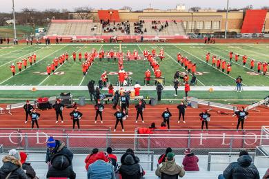 The H-F marching band and cheer team revs up the Vikings crowd before the Friday game started. (ABS)