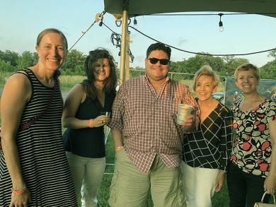 Enjoying the evening were, from left, Anne Marie Bodrozic; Lana Rogachevskaya, director of the Center for Performing Arts at Governors State University; Professor David Hamilton of GSU; attorney Kathy Orr; and Christina Salerno.