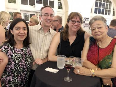 Supporters of the Homewood Science Center, from left, Sharon and George Bouchie, Shelley Peck and Willa Lee had a great time at the cocktail drink challenge party July 20.