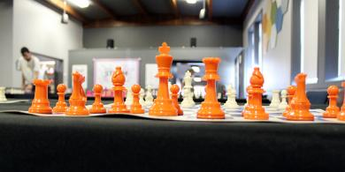 Chess pieces are set up, ready for players to arrive for the open chess session Saturday at the Homewood Science Center.