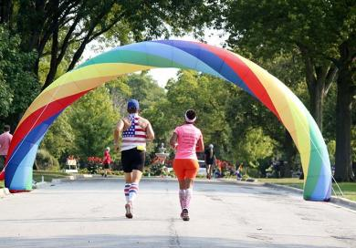 Runners are greeted by a rainbow as the enter the Flossmoor Park neighborhood.