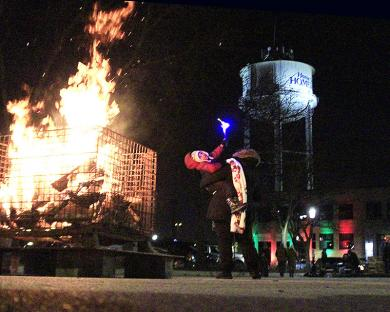 The temperature was about 15 to 20 degrees colder than during last year's event, but roaring bonfires at various locations gave people a chance to warm up.
