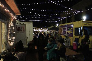 Food trucks line Martin Square during the festival.