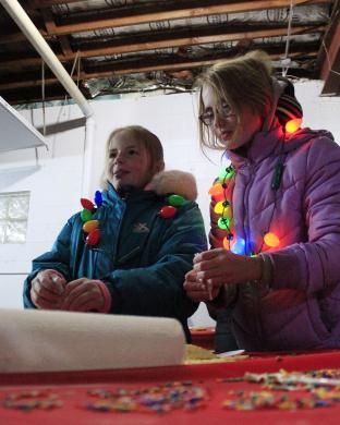 From left, Lydia and Nora Vargo decorate cookies at the Homewood Science Center.