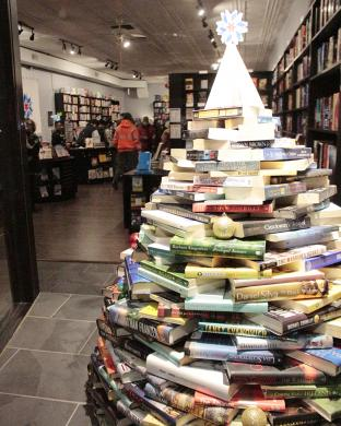 The book tree in the window of Bookie's New and Used Books on Ridge Road adds an appropriate variation on the traditional holiday decoration.