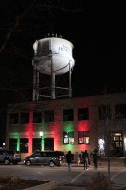 Homewood village hall is lit with holiday colors during Holiday Lights in Homewood.