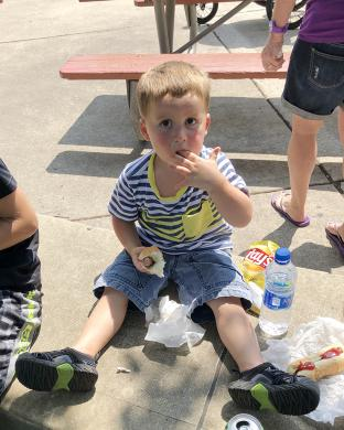 Brian Schaffrath, 2, of Homewood had to lick his fingers.