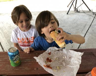 Owen Maszak, 5, enjoyed his day with buddy Erik Mullner, 5, both of Homewood.