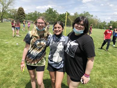 Eighth graders, from left, Haley Bockstruck, Ysabela Carpio and Isabella Rodriguez were all smiles as they enjoyed the Fun and Field Day Friday, May 21. (MT)