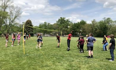 A friendly game of volleyball gave James Hart School eighth graders a chance to get out in the sunshine during Fun and Field Day. (MT)