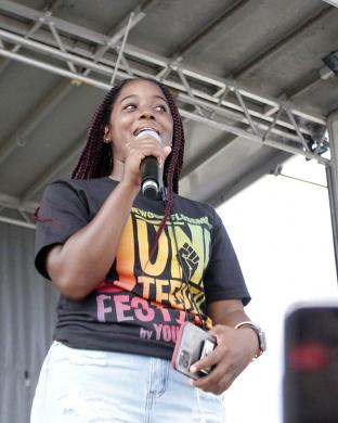 Organizer Destiny Watson welcomes guests to the first H-F Juneteenth festival on Saturday, June 19. (EC)