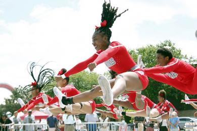 H-F High cheerleaders perform during the Juneteenth festival on Saturday. (EC)