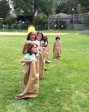 Kids are all set for countdown for one of the sack races in Irwin Park on Saturday, July 28.