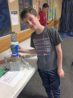 """Asher McEowen, a third grader at Churchill School in Homewood, created a droid at the Homewood Public Library's """"Star Wars May the Fourth Be With You"""" event on May 4. His favorite Star Wars movie is """"Return of the Jedi."""""""