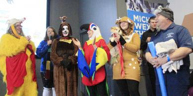 Participants in the costume contest line up for judging.