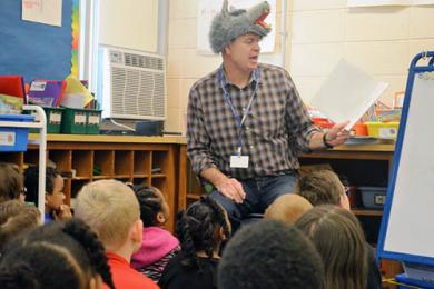 Superintendent Dale Mitchell loved reading to the younger students at Willow School. (Provided photo)