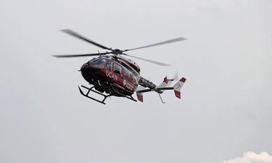 The UCAN medical helicopter comes in for a landing at Irwin Park during National Night Out. (Jim Gannon)