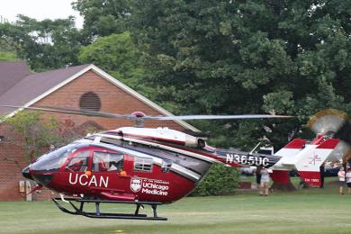 The UCAN helicopter touches down. (Jim Gannon)