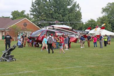 Crowds begin to gather for tours of the helicopter. (Jim Gannon)