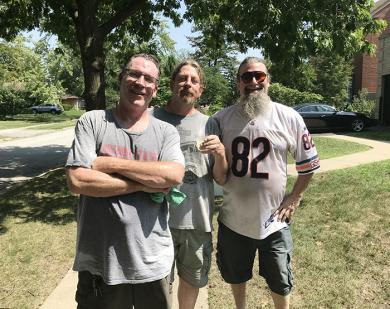 The Jamey Vitale band poses for a picture after performing on Vardon Lane in Flossmoor. (NJ)