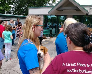 A number of resident dogs joined humans to celebrate the opening of the Homewood Adoption Center. (EC)