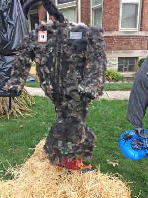 An upside down  scary wolf by Sharon Munoz won third place in the Homewood Beautification Committee's annual scarecrow contest Saturday. She covered the body with real dog fur.