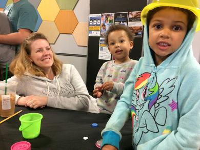 Angela Foster of Homewood with her daughters Mariam, 2, and Anderson, 5, worked on an art project at the Homewood Science Center.