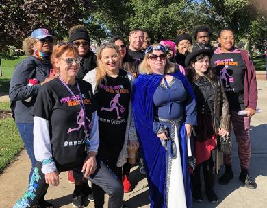 A team of volunteers from Governors State University came out for the Pink-A-Poo Walk of Hope supporting the Cancer Support Center. (MT)