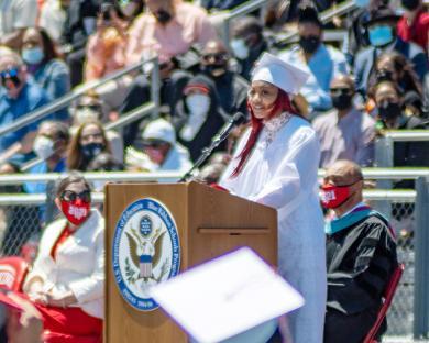 Eden Mitchell, senior class president, delivers a speech during graduation ceremonies. (ABS)
