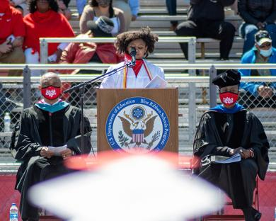 Jordyn Johnson, student government executive board president, delivers a speech at graduation. (ABS)