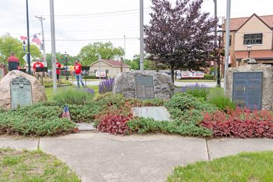 The Veterans Memorial on Harwood Avenue is the site of the annual Memorial Day program in Homewood. (ABS)
