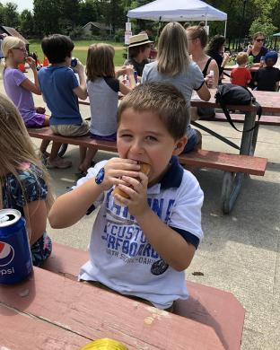 Mitchell Mizanin, 6, of Sauk Village, came out to hot dog day.