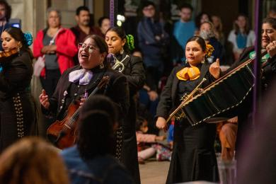 The Mariachi Sirenas! were strolling musicians in downtown Flossmoor the evening of Oct. 6. Crowds gathered around as Chicago's first all-female mariachi group entertained as part of Hispanic Heritage Month. (ABS)
