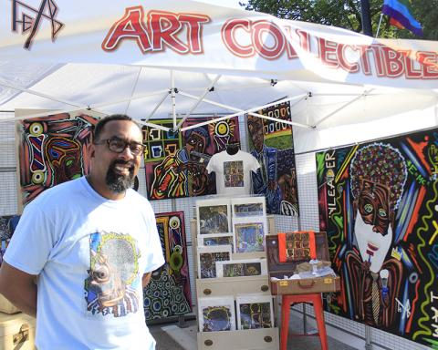 Mike Miller of Flossmoor has his distinctive art on display at the Artisan Street Fair.