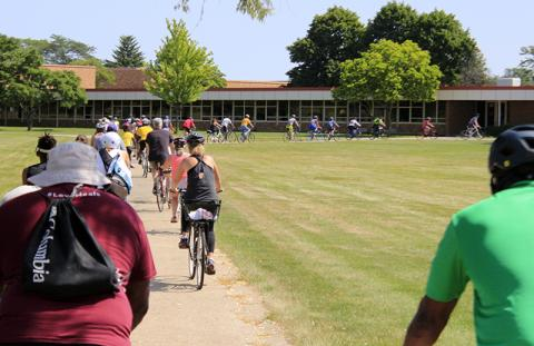 The route takes rides through the H-F High School campus.