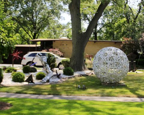 Sights along the way: A residential sculpture garden.