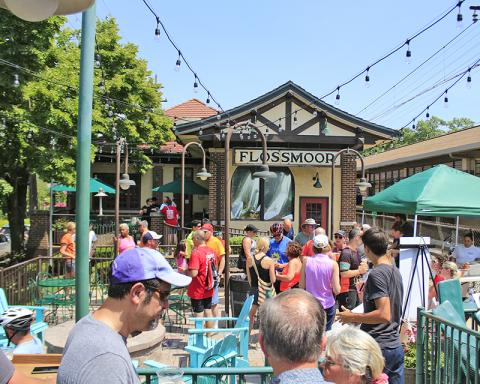 Many cyclists ended the ride with a visit to Flossmoor Station to sample its new brew dedicated to the Hidden Gem.
