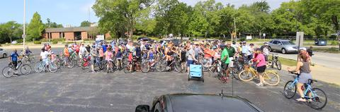 Cyclists line up for a photo prior to the Bike the Gem ride on July 13.