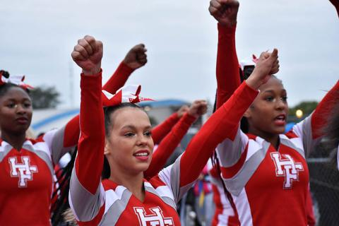 Viking cheerleaders perform during the homecoming game.